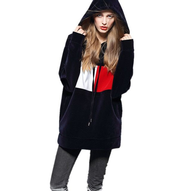 Hooded Loose Long Sleeves Long Section Casual Hoodies Velvet Fashion Sweatshirts for Women