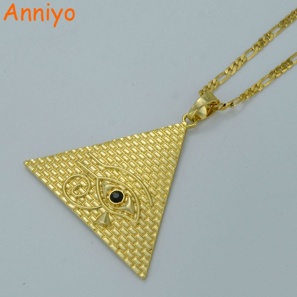 Anniyo Egyptian Pyramid Necklaces for Women,Gold Color Egyptians Eye Of Horus Jewelry Egypt Eye Amulet/Hieroglyphics #019306