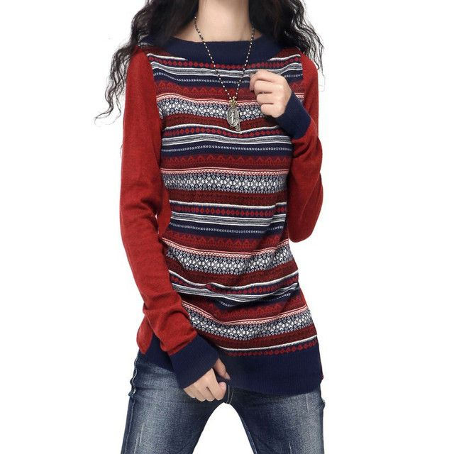 Women cashmere wool sweater stitching styles long-sleeved sweater pullover sweater retro design