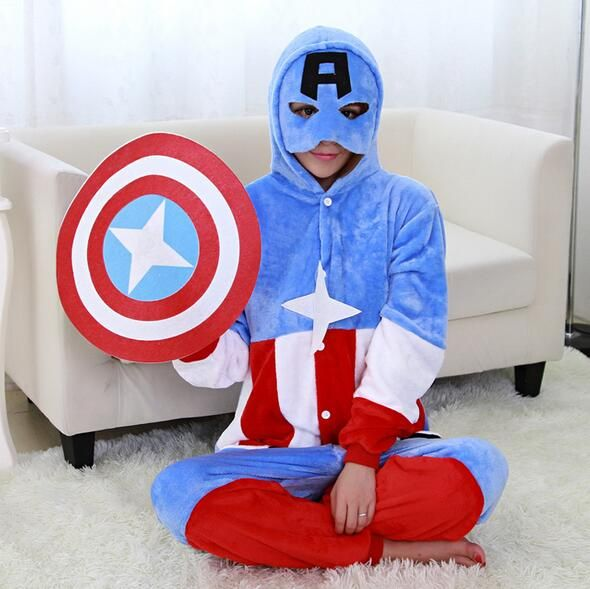 Captain America Pajamas Animal Cosplay Costume Flannel Girls Boys Adult Pajamas Onesies Cartoon Sleepwear Sleepsuit