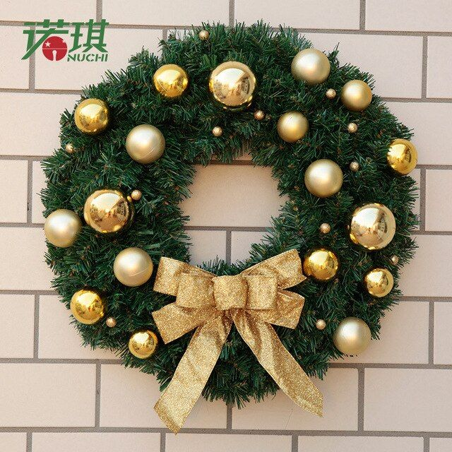 Needles Encryption Christmas Wreath Accessories Bow Garland Door & Window Decorations Rattan Ring Door Hanging Ornaments