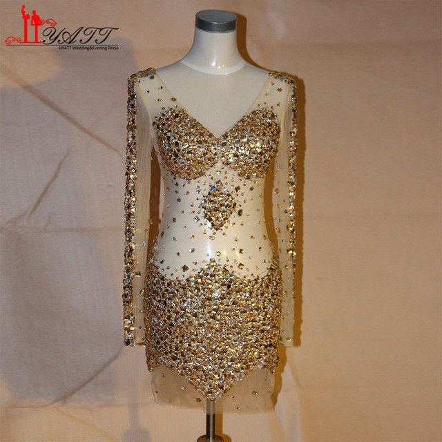 Sexy Short Bling Gold Prom Dresses Sheer V Neck Nude Tulle Sheath Beaded Crystal 2017 Party Dresses For Evening Formal Gowns