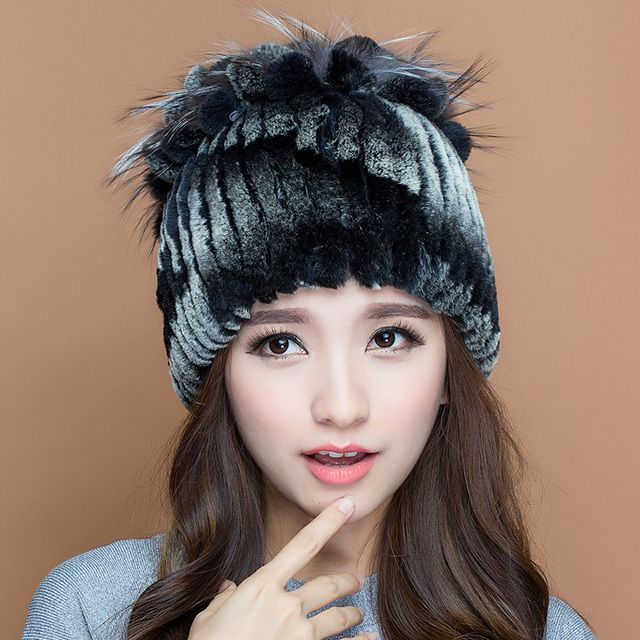 Winter beanies fur hat for women knitted rex rabbit fur hats with silver fox fur flower free size top 2016 new lady fur cap