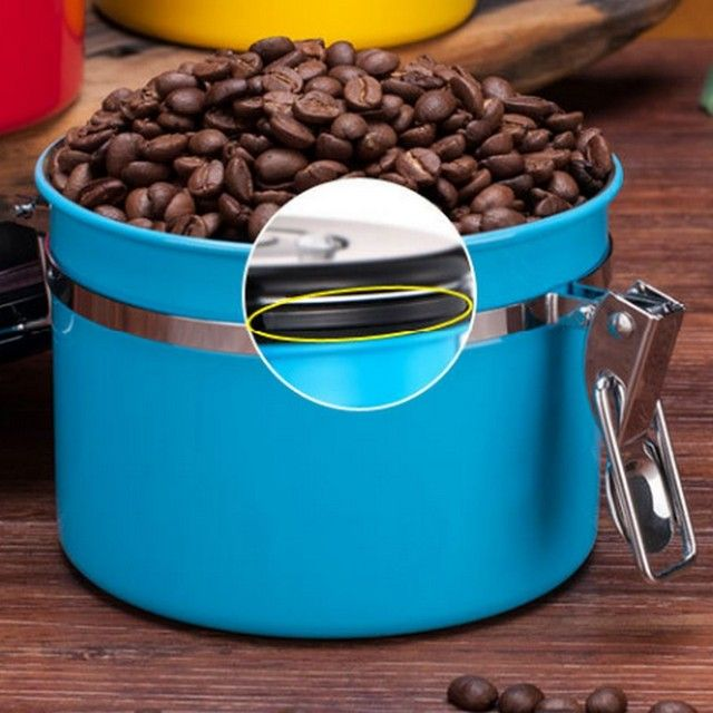 Stainless Steel Sealed Large Coffee Canister Home Kitchen Coffee Sugar Tea Storage Coffee Canister Storage Container Jar Stay