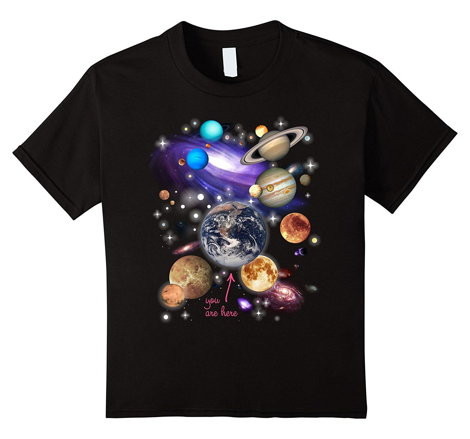 2017 New Arrival Funny Mens Tops Cool O Neck T-Shirt Design T Shirts Casual Cool Solar System Planets T-shirt