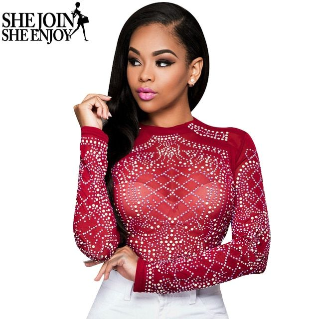 ShejoinSheenjoy T Shirt Women 2016 New Sexy Mesh See Through Geometric Rhinestone Ladies T-Shirt Long Sleeve O-Neck Autumn Tops