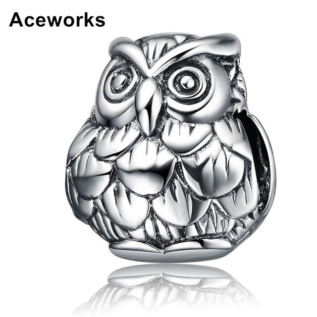 Aceworks DIY Antique Owl Charms Real 925 Sterling Silver Bead Charm Animal Fit for European Pulseira Bracelets Jewelry LH519