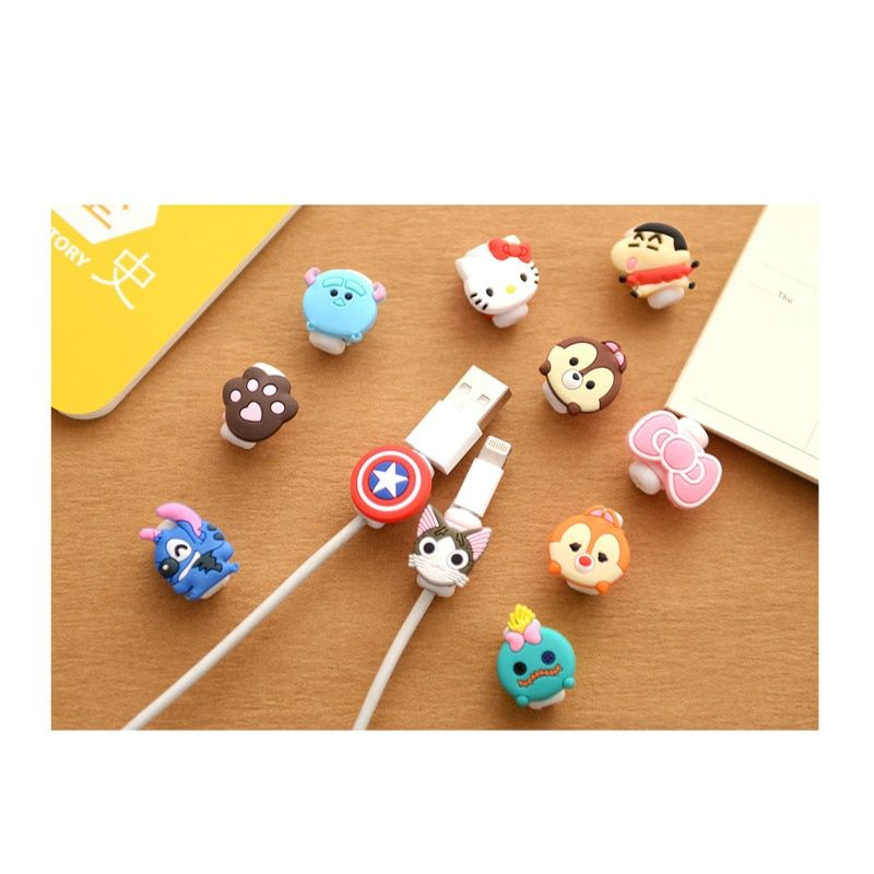 5PCS Cartoon Cable Protector Data Line Cord Protector Protective Case Cable Winder Cover For iPhone USB Charging Cable