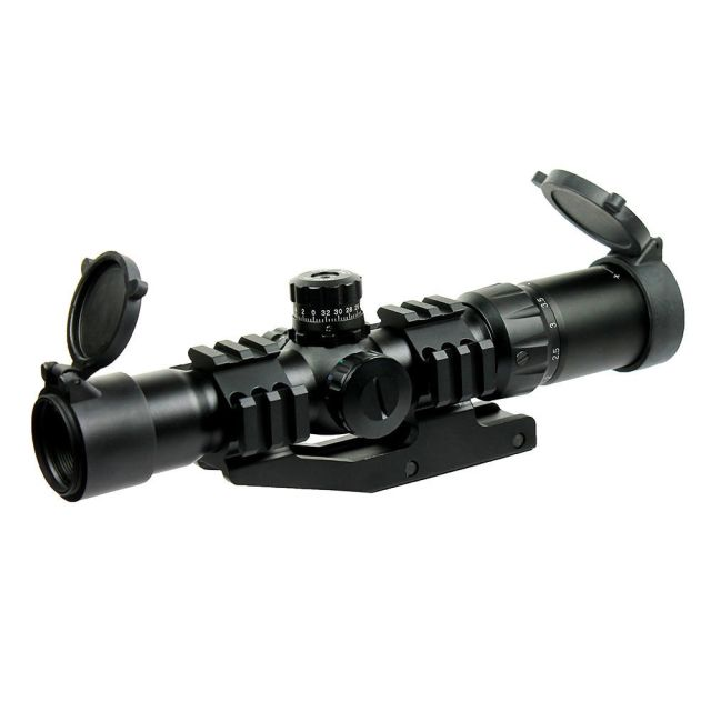 Tactical Rifle Scope Airsoft Air Guns Hunting Chasse Caza Tri-Illuminated Recticle & PEPR 1.5-4X30 Cantilever Mount Airsoft Gun