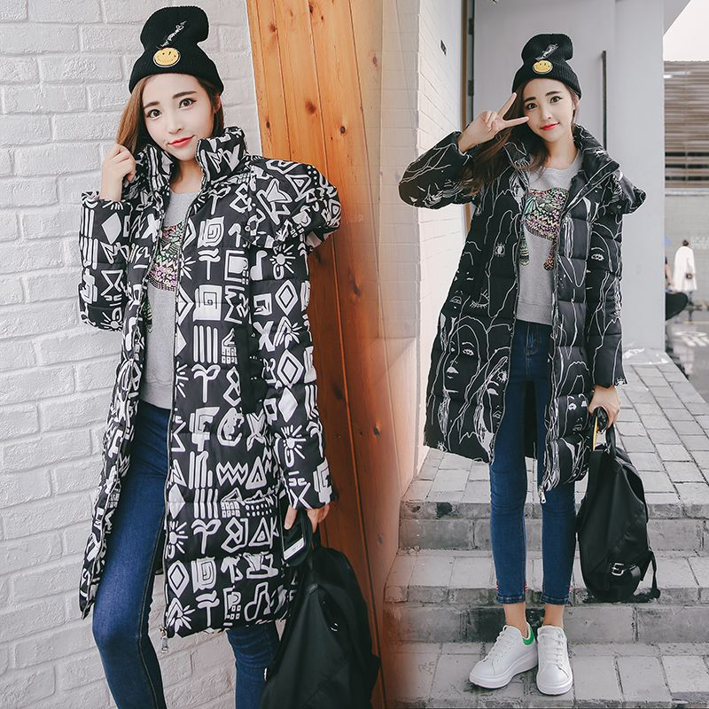 Women Floral Coat With Hoody Thick Warm Winter Ladies Hooded Jacket and Coat Cotton Down Parkas for Female Outfits