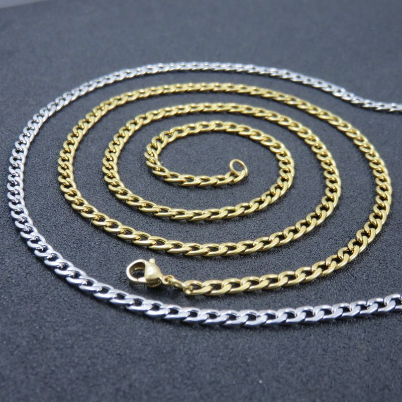 4mm Width Silver Tone Stainless Steel Chain Curb Chain Necklace For Man Women Fashion NK Chain Jewelry