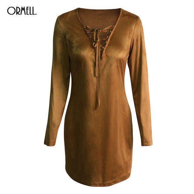 ORMELL Suede Lace Up Sexy Dress Women Elegant Camel Bodycon Dress Autumn Winter Long Sleeve Party Short Dress Vestidos