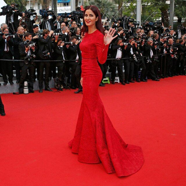 Sexy Katrina Kaif Red Long Sleeve Mermaid Lace Sheath Evening Dresses Celebrity Dress Cannes Festival 2017 Evening Gowns