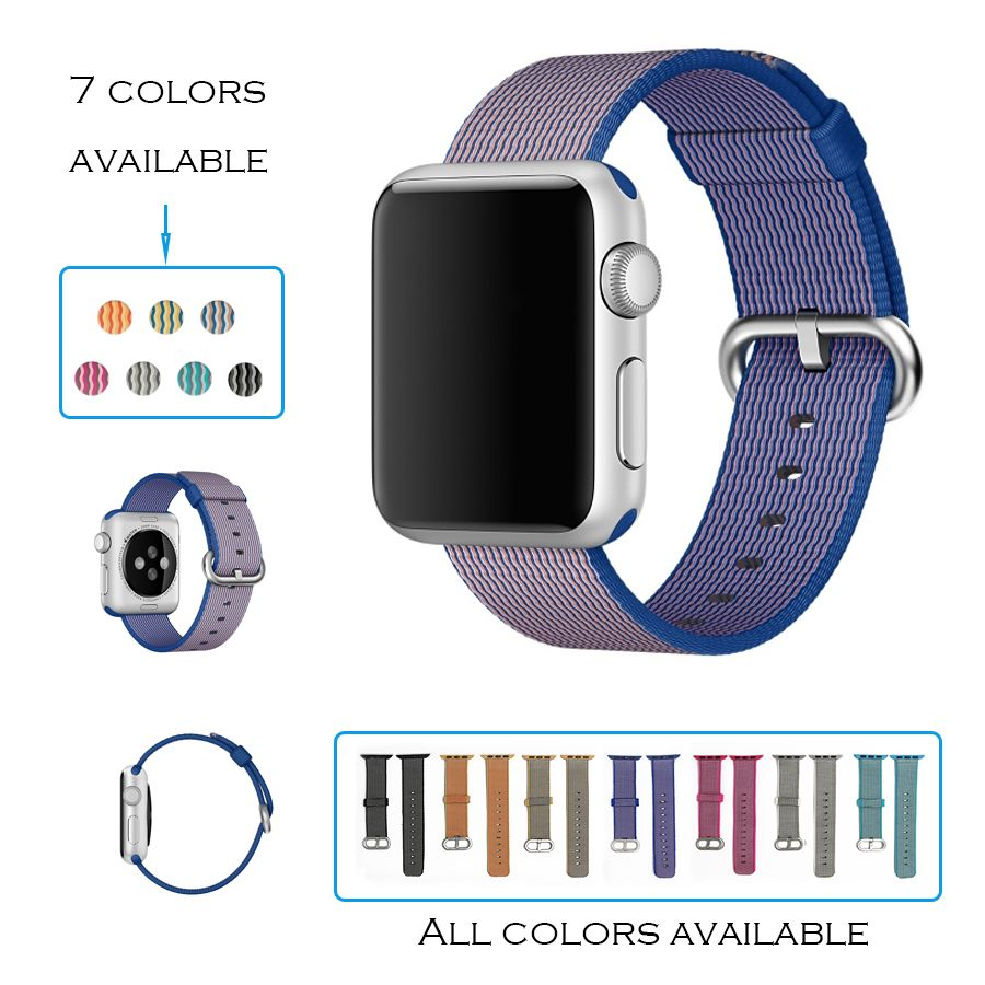 URVOI band for apple watch series 1 2 woven nylon strap for iwatch fabric-like feel wrist colorful pattern with classic buckle