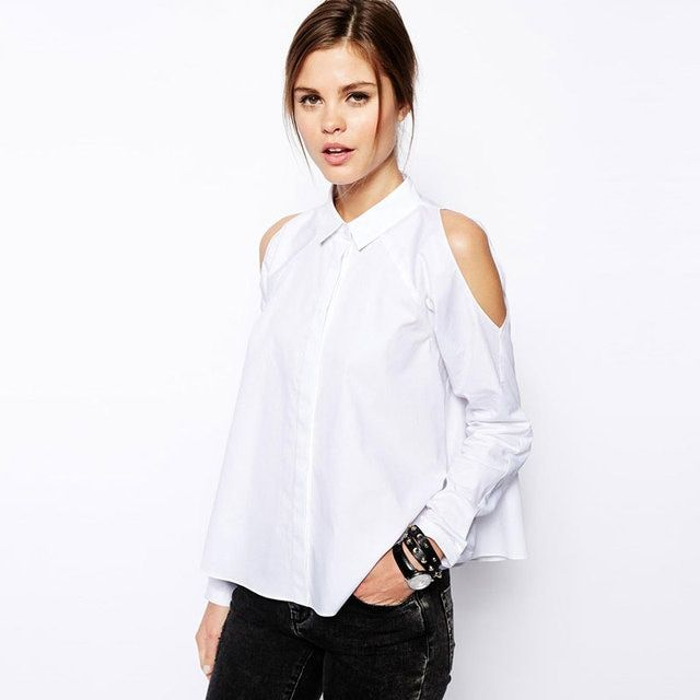 Woman's Long-Sleeved Cut Shoulder Shirts Turn Down Collar Button Down Loose Hem Women White Blouses Fashion CW0238