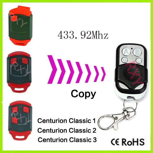 duplicator Centurion Classic 1,2,3 buttons 433.92mh remote control clone