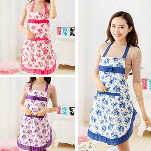 New 2017 Convenient Women's Waterproof Housewife Kitchen Waist Aprons Jeanette Floral