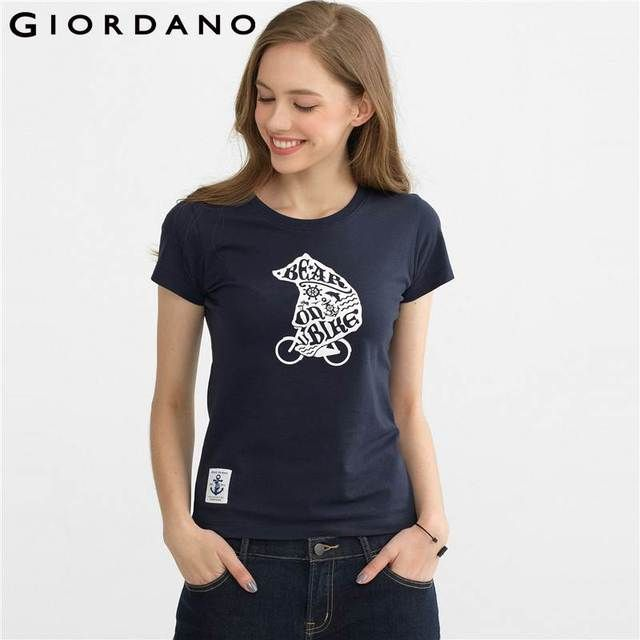 Giordano Women T-shirt 2017 Graphic Tees Cotton Tshirt Women Short Sleeves Crewneck T-shirts Camisas Femininas