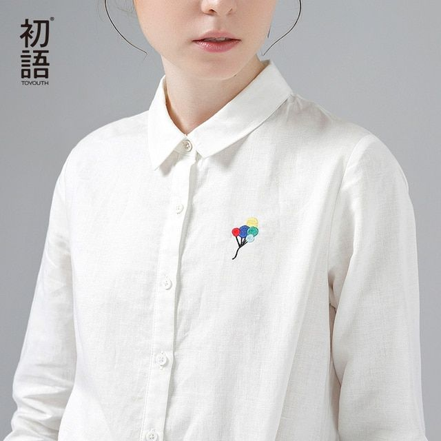 Toyouth Shirts 2017 Spring New Women Shirt Casual  Balloon Embroidery Turn Down Collar White Blouses