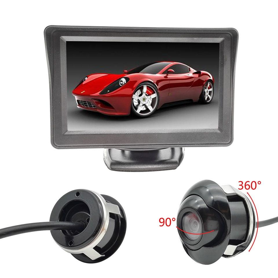 "4.3"" TFT LCD Car Rear View Camera Monitor + CCD Car Front View Camera Double Control Lines Switch To Rear View For All Autos"