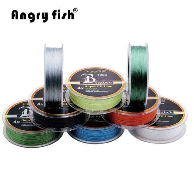 Angryfish Wholesale 100m 4 Strands Braided Fishing Line 11 Colors Super PE Line Strong Strength Fish