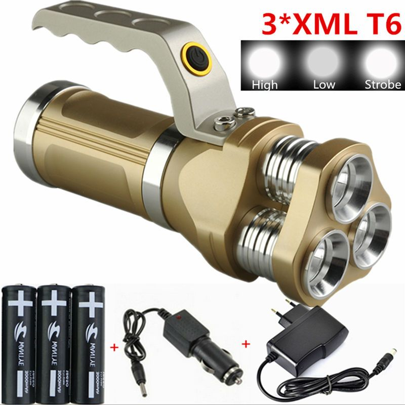 6000Lm Rechargeable Flashlight Lanterna 3xLamp XML T6 LED Flashlights Torch light For Hunting Camping+3x18650 Battery+Charger