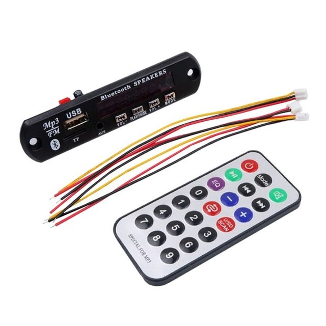 Bluetooth 5V 12V MP3 WMA Speaker Decoder Board Audio Module USB TF Radio Remote Control For Car Radio Black Color