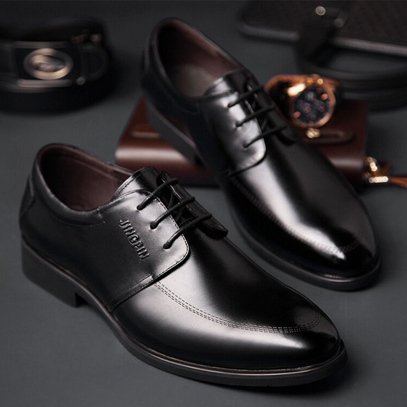Hot Sale Men's Flats Shoes Men Business Dress Genuine Leather Flat Shoes Brand Mens Loafers Oxford Shoes For Men Wedding Shoes