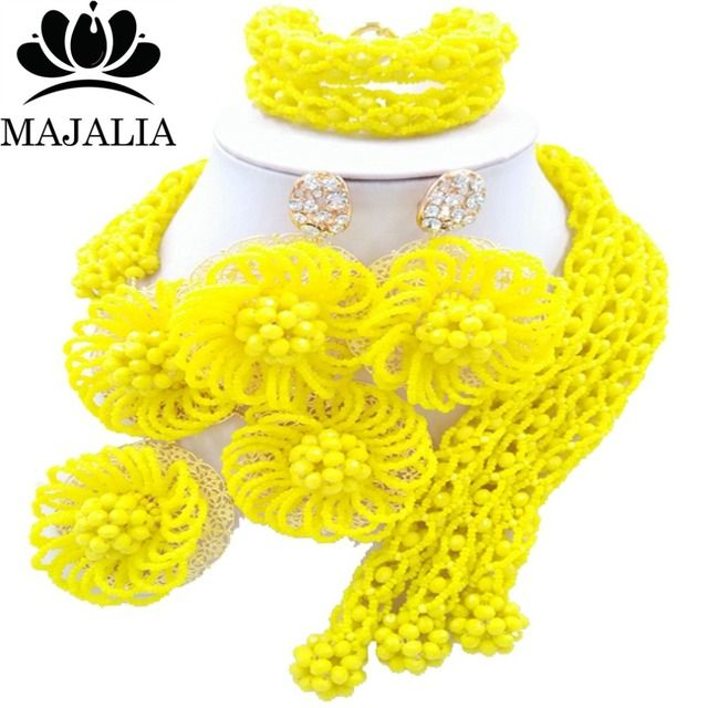 Majalia Fashion african beads jewelry set yellow Nigeria Wedding Crystal necklace Bridal Jewelry sets Free shipping VV-014