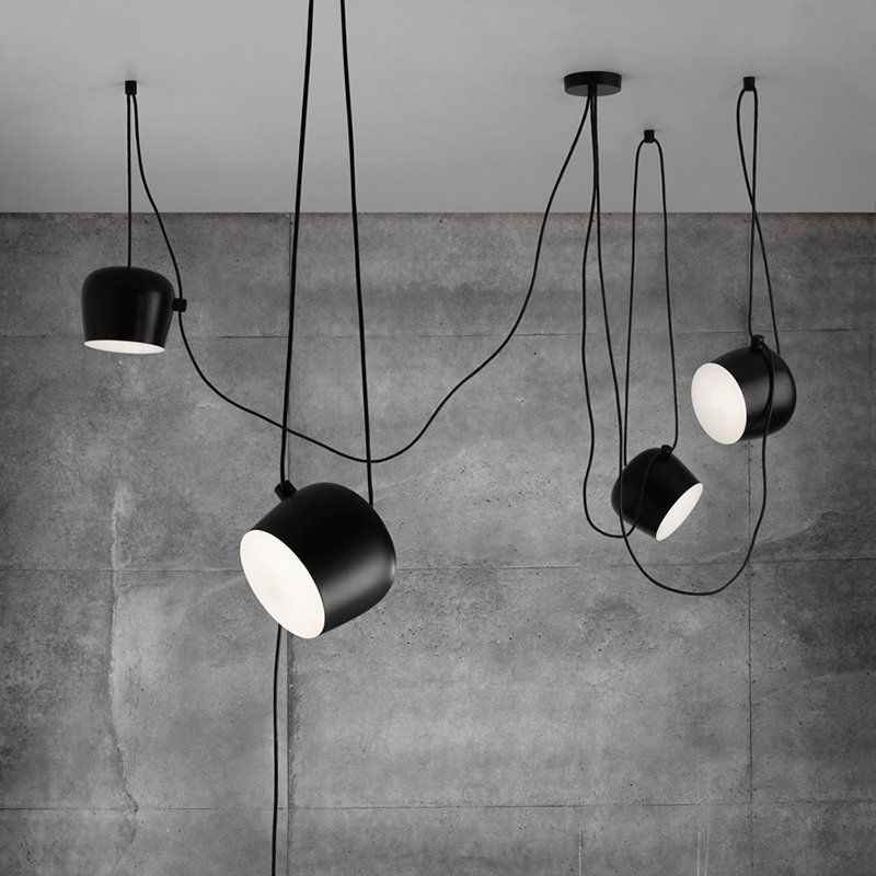 Personality Nordic Brief Wire Drop Hanging Lamp black/white LED Loft Pendant Lights Flower-Drum Cafe Bar Lighting Fixture