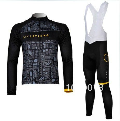 2012 winter bicycle clothes/livestrong black thermal fleece long sleeve cycling jersey