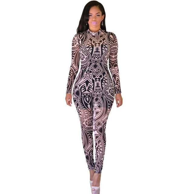 2016 Women Bodysuit Sexy Top Bodysuit Baby Full Black Nude Tribal Tattoo Print Long Sleeve Club Sheer Jumpsuits enteritos mujer