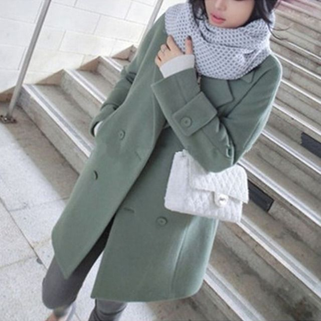 Bean green Winter Coat Women 80% wool High quality long coats Double Breasted  jackets luxury 2016 Oversize abrigos mujer 16-12