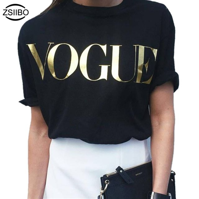 ZSIIBO Europe Fashion Brand Glod Shining Letter T-shirt Women Simple O-Neck Short Sleeve Femme Tops 5 Colors NvTx08