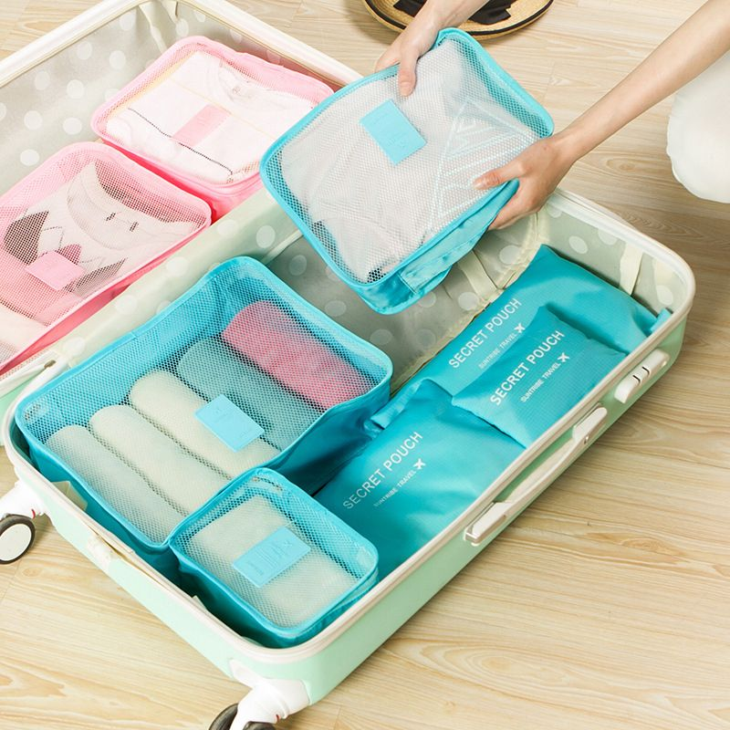 6 Pcs Travel Storage Bag Set Waterproof Clothes Underwear Organizer Pouch Portable Suitcase Closet Divider Container Organiser