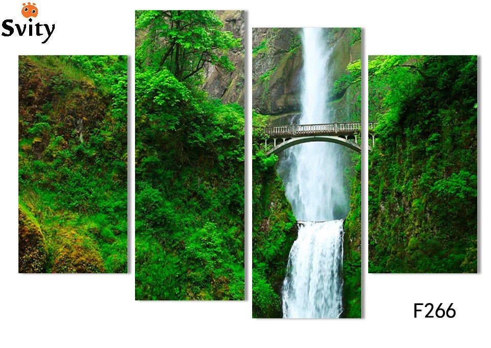 Four rectangular canvas paintings, decorative living room, digital photos, forest waterfall landscape picture (no border) F266