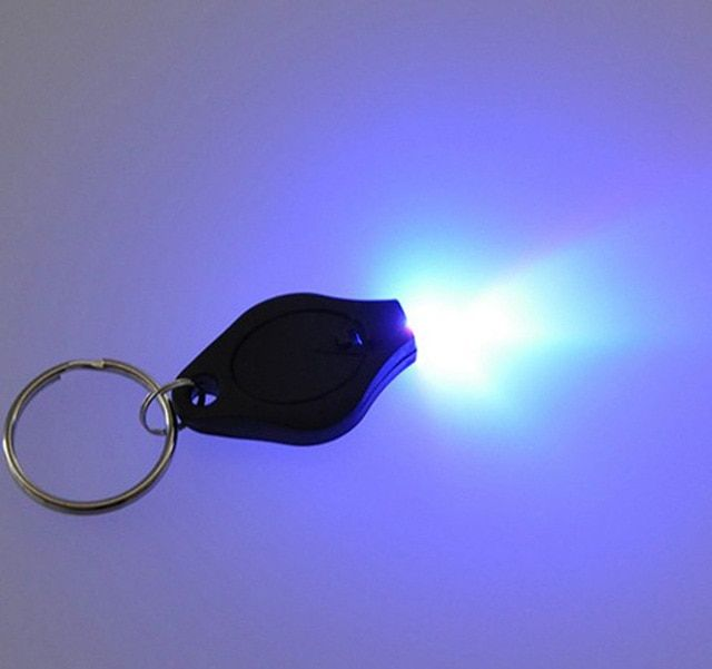 Free shipping 400 pcs/lot Colorful Micro Light LED Keychain UV Flashlight Gift Light cheap Money Detector