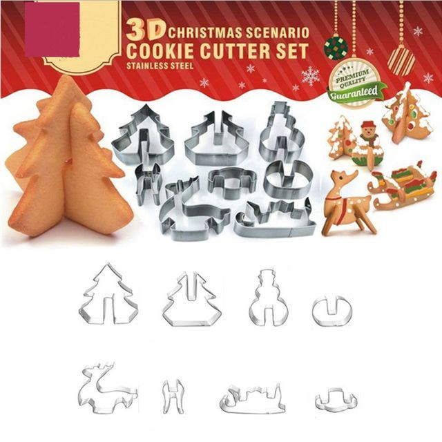 Beautiful Christmas Theme 8 PCS / SET 3D Stainless Steel Christmas Scenario Cookie Cutters Metal Cookie Mold Fondant Cutter