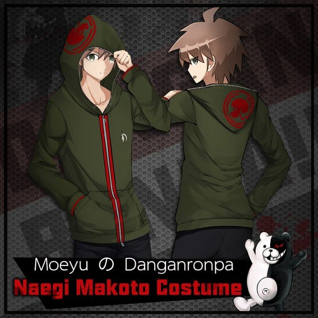 Moeyu Anime Danganronpa Naegi Makoto Cosplay Costume Animation Cotton Hoodie Coat Sweatshirt For Otaku Adult Men Women
