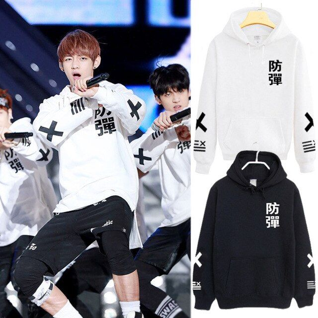 BTS Bangtan Boys Fans Black White Baseball Print Pullovers Cotton  Jacket High Quality Hoody S M L XL XXL Size Free Shipping