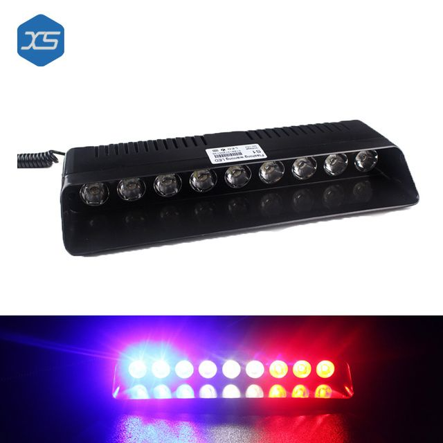 9 LEDCar Emergency Lights Warning Signal Lamps Blue White Red L25*W10.2*H3.0 CM  Car Spare Parts , Emergency Flashing Light