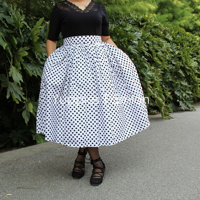Yuppies Fashion Black Polka Dot Women Skirts Vintage Print Skirt 1950s Style High Waist Pleated Skirt Plus Size faldas saia jupe