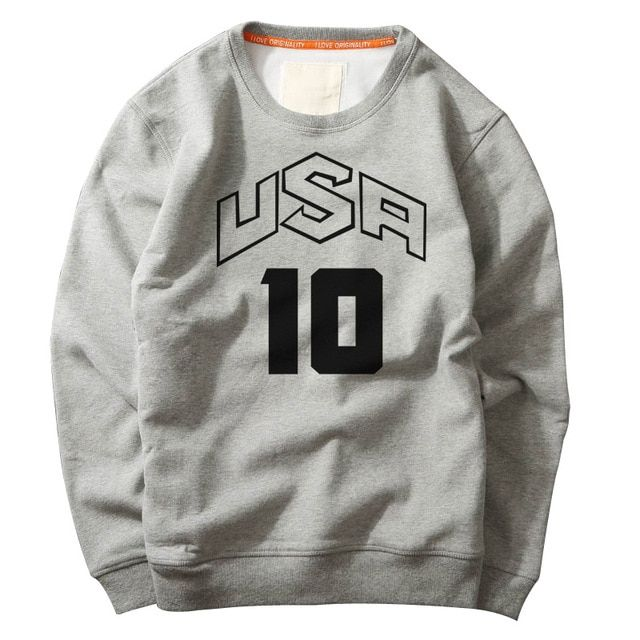 Creative team USA NO.10 printed casual hoodies sportwear sweatshirt USA Loose Breathable Long-sleeved Pullover Palace Sweatshirt