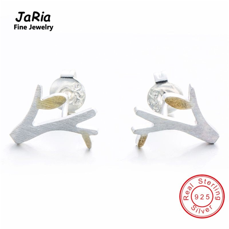 JaRia Fine Jewelry Beautiful s925 Sterling Silver Women Earring 925 Silver Jewelry Tender Shoot  Earring Two Tone SE028