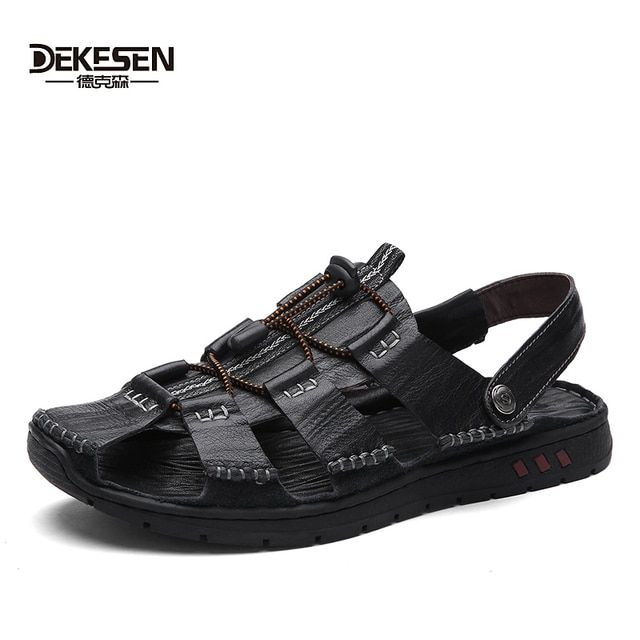 DEKESEN Top Soft 100% Genuine Leather Sandals for Mens, Handmade Men's Summer Casual Shoes, Non Slip Classics Men Beach Slippers