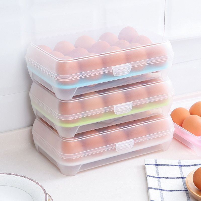15 Blank Kitchen Refrigerator Eggs Storage Box Holder Preservation Box Portable Plastic Put Eggs Box Home Kitchen Storage Tools