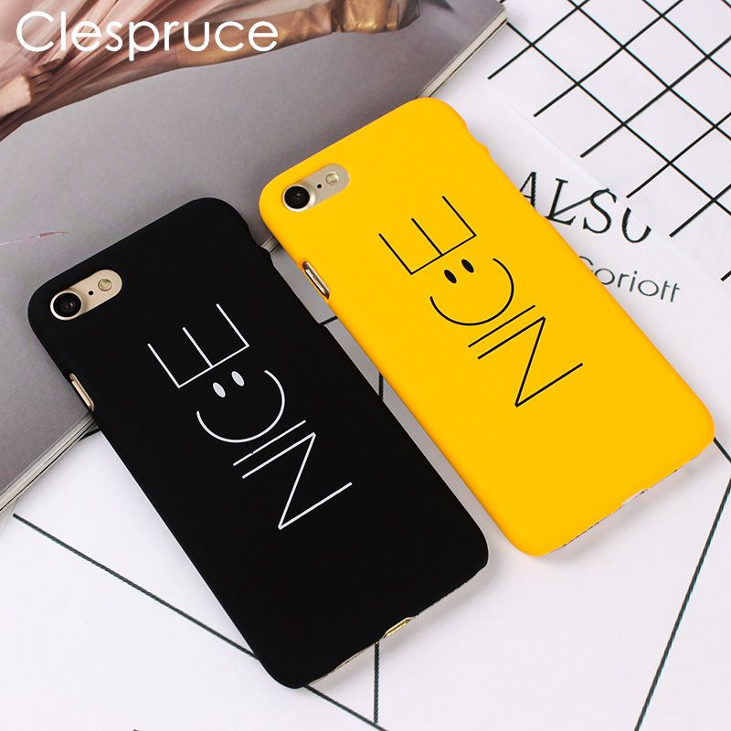 Clespruce NICE Yellow Black Phone Back Hard PC Cover For iPhone X 8 8plus Funny Nice Emoji Case For iPhone 6 6s 7 plus SE 5S