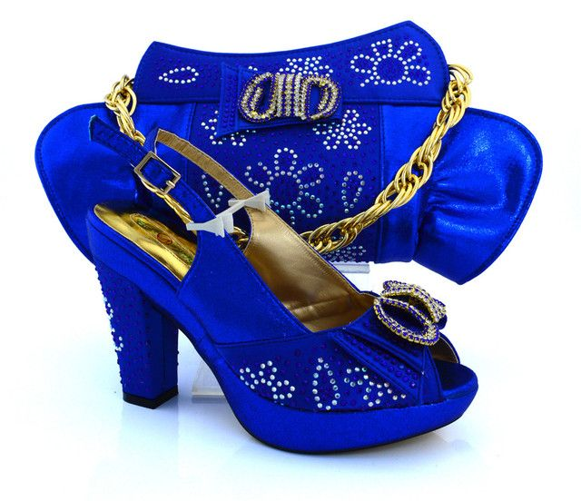Nice-looking italian matching shoes and bag set ladies shoes and bag to match for nigerian wedding dress MM1019 Royal Blue.