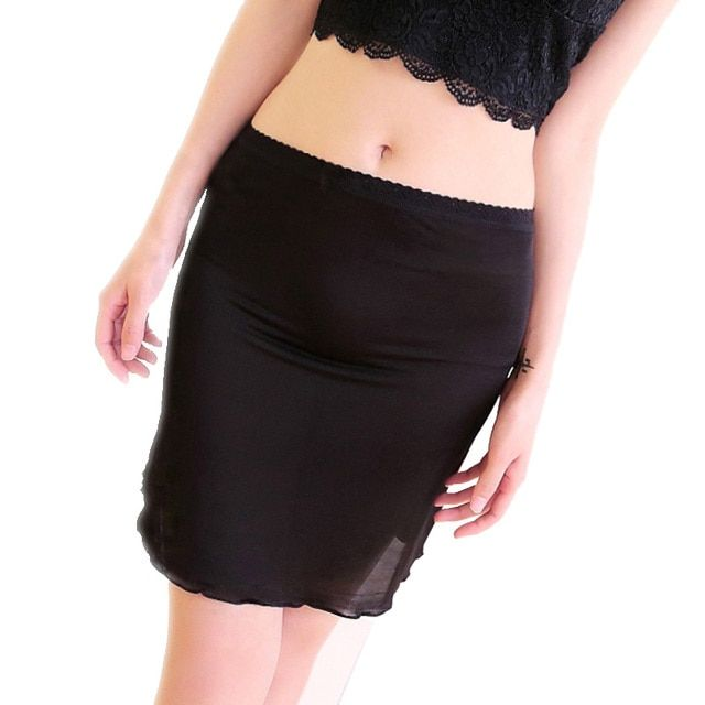 100% Pure Silk Women's Half Slips Femme Simple Thin Sexy Lace Elastic Slim Underskirts Women Black Female Slip Woman Chemises