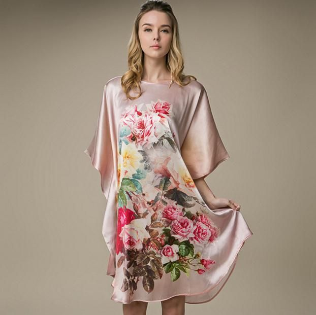 Plus Size 100% Silk Casual Home Dress Chinese Women's Print Flower Robe Sexy Short Nightgown Sleepwear Kaftan Bathrobe Gown